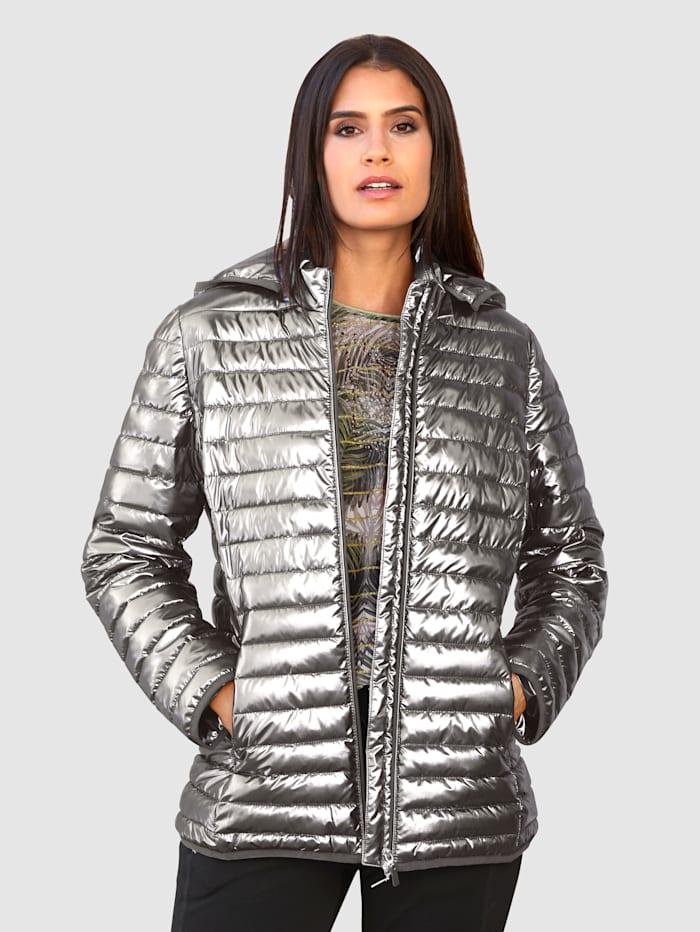 Laura Kent Glansig jacka med avtagbar kapuschong, Silverfärgad