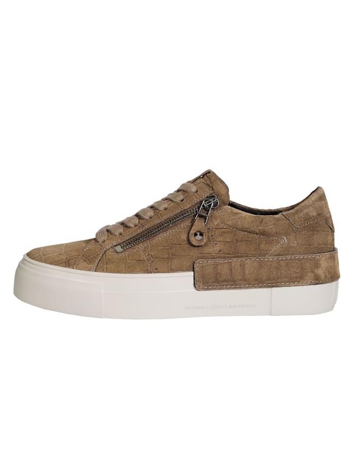 Sneakers à plateau en cuir velours imprimé