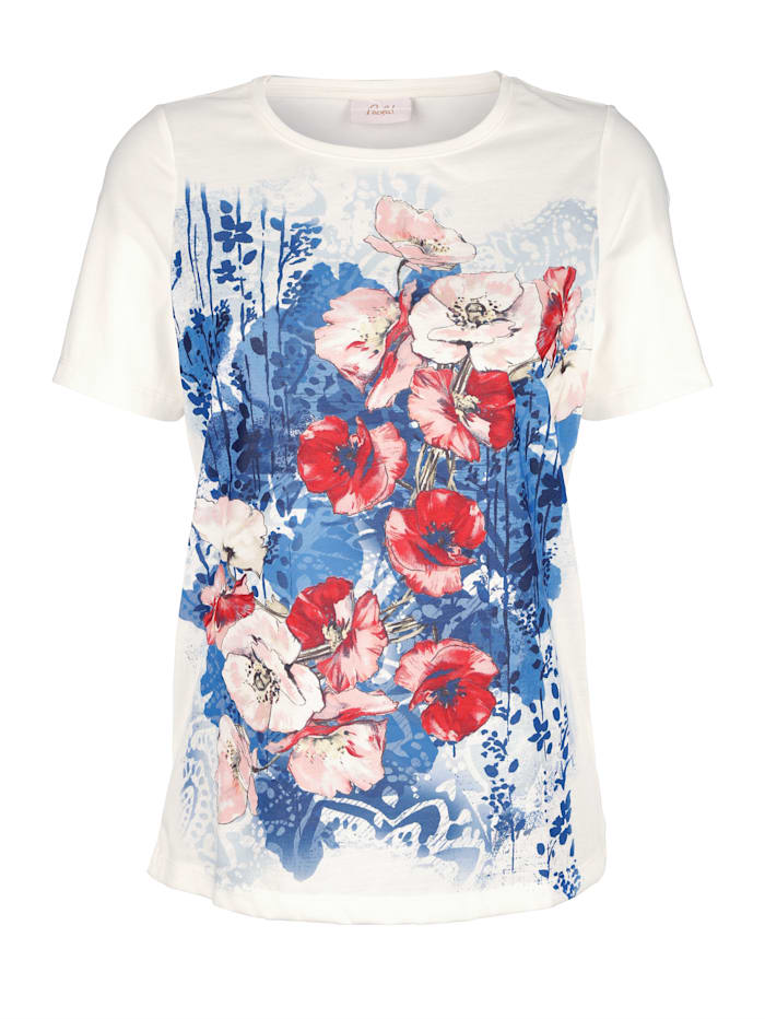 Paola T-shirt à imprimé exclusif, Blanc/Marine/Rouge