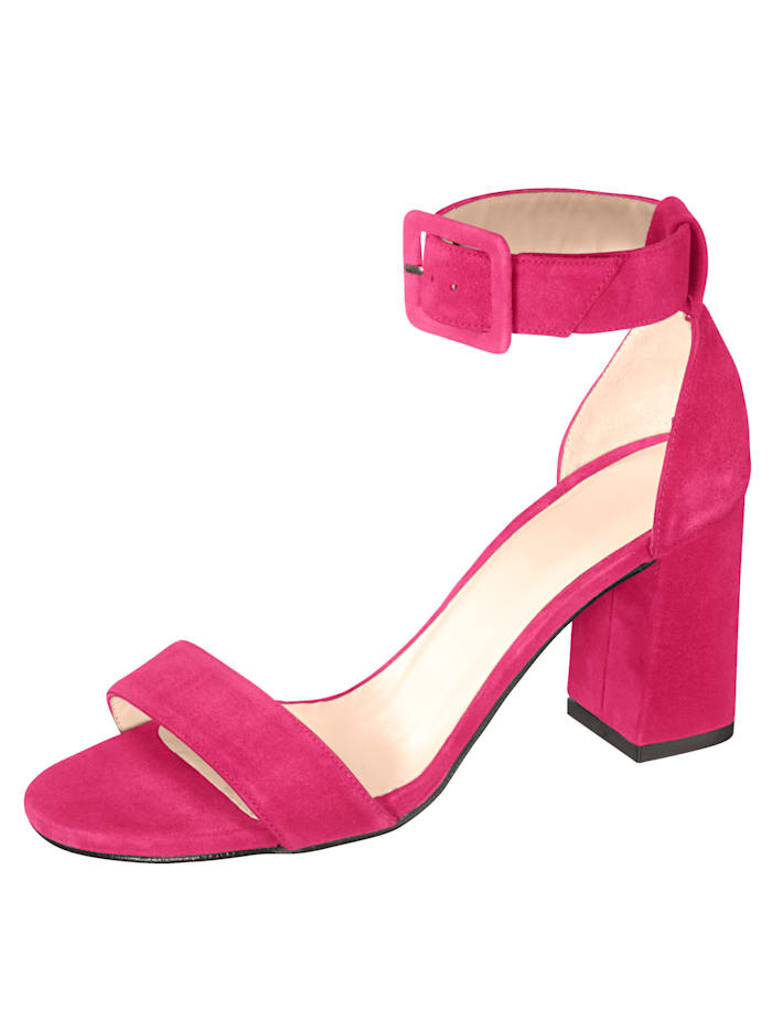 Gennia Sandale aus hochwertigem Ziegenveloursleder, Pink