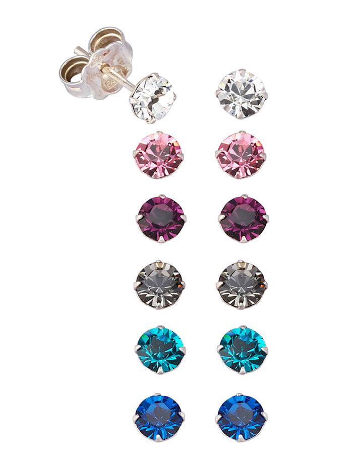 6tlg. Ohrstecker-Set mit Swarovski Kristallen, Multicolor