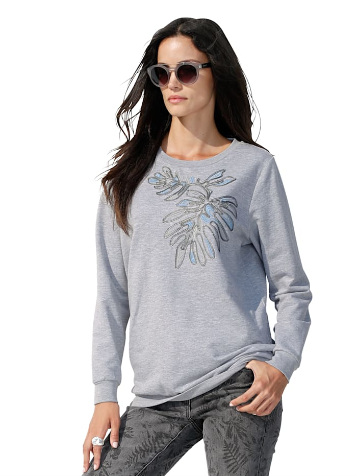 Sweatshirt mit Stickerei im Vorderteil