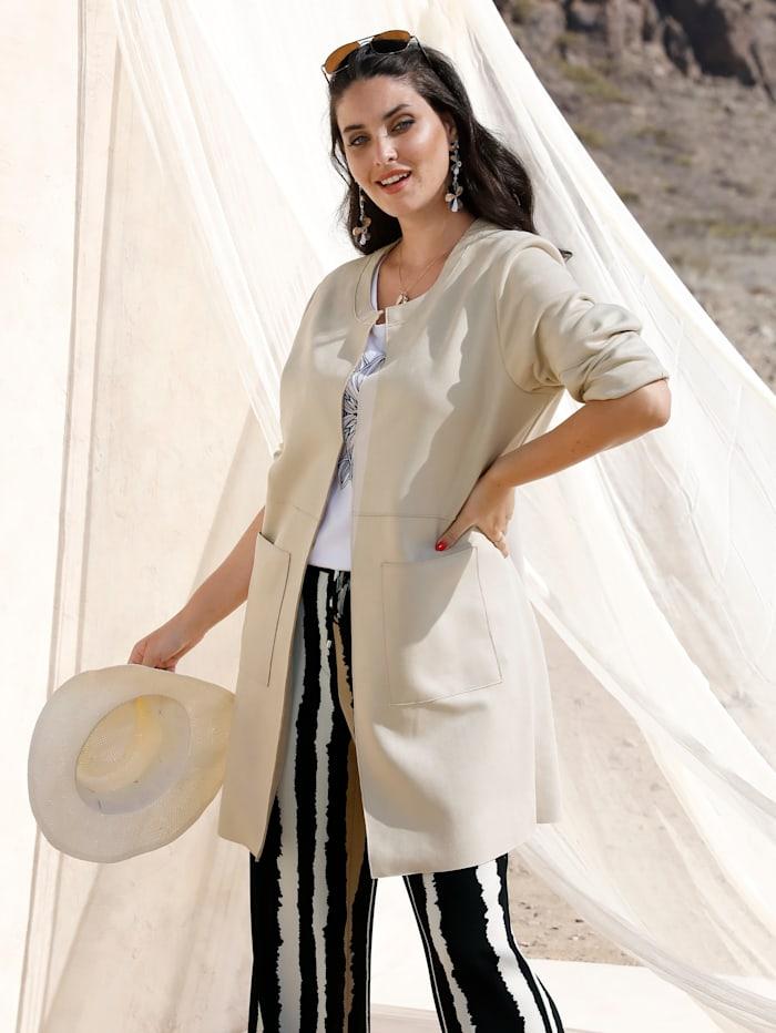 MIAMODA Veste longue à encolure féminine, Beige