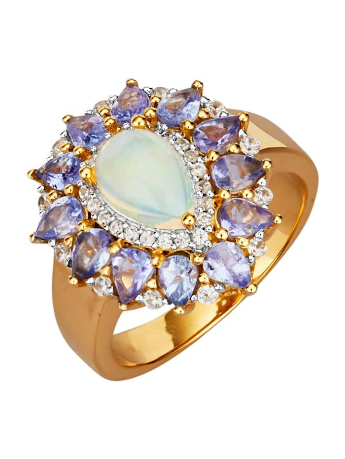 Damenring mit äthiopischem Opal, Blau
