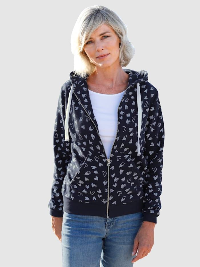 Dress In Sweatjacke mit schönem Herzenprint, Marineblau/Weiß