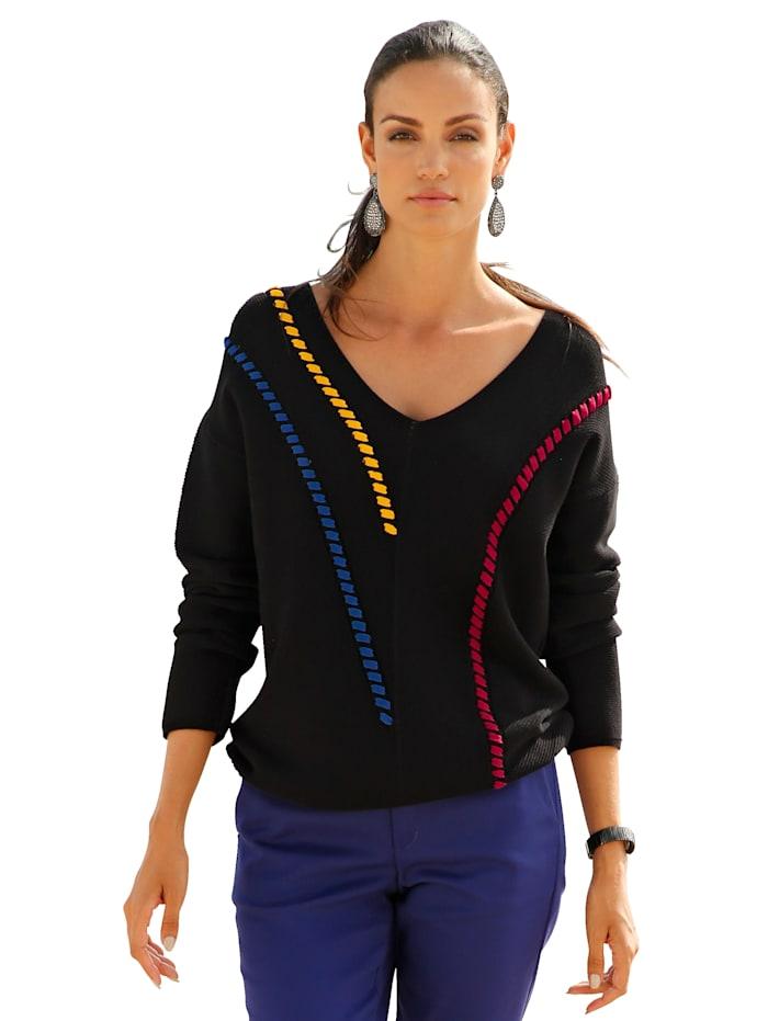 AMY VERMONT Pullover mit farbigen Zierbändern, Schwarz