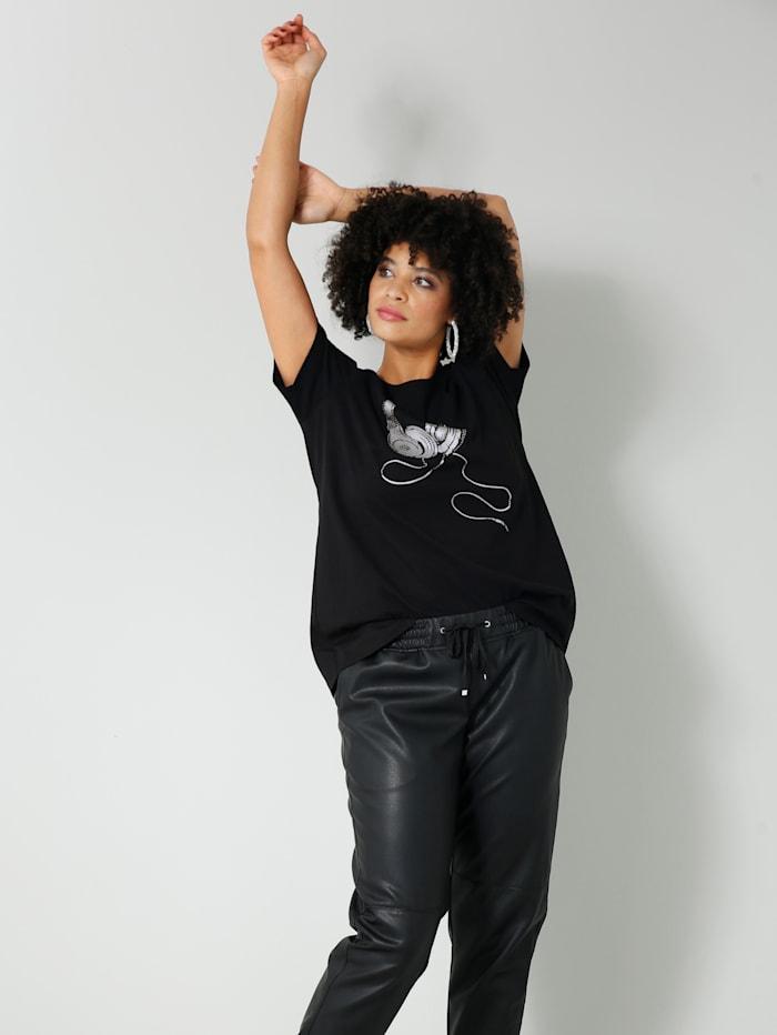 Angel of Style Shirt mit Kopfhörer Print, Schwarz/Silberfarben