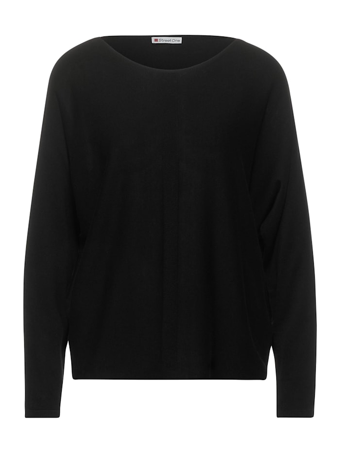 Street One Feinstrick-Pulli in Unifarbe, Black