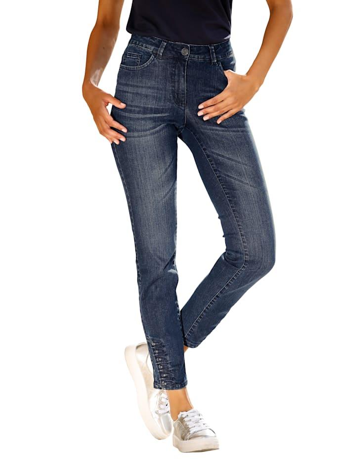 Laura Kent Jeans mit Ziersteinen am Saum, Blau