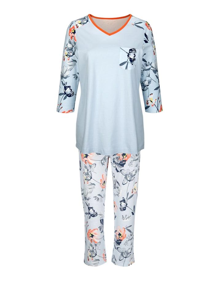 Blue Moon Pyjama met leuke contrastkleurige paspel aan de hals, Lichtblauw/Apricot/Marine