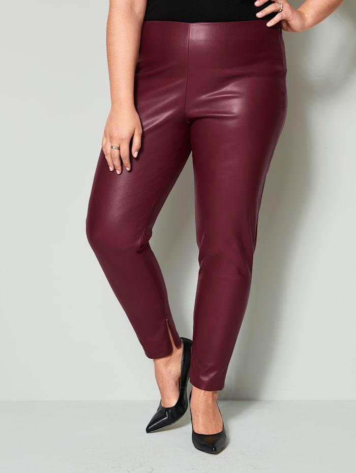Sara Lindholm Legging en simili à taille extensible, Rouge grenat