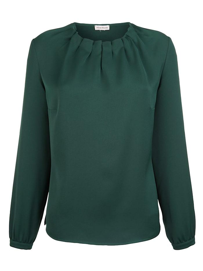 Alba Moda Blouse met plooitjes bij de hals, Groen