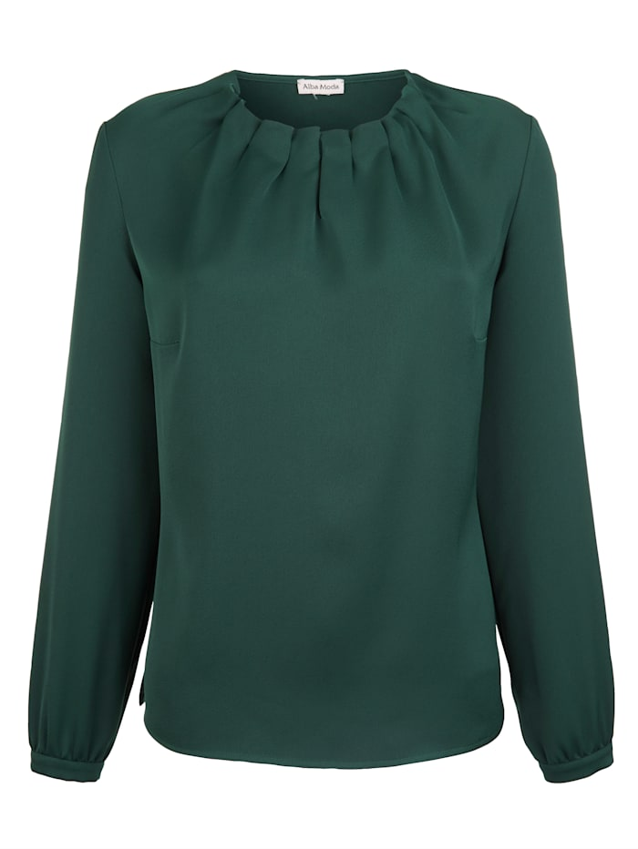 Alba Moda Bluse mit Falten am Ausschnitt, Grün