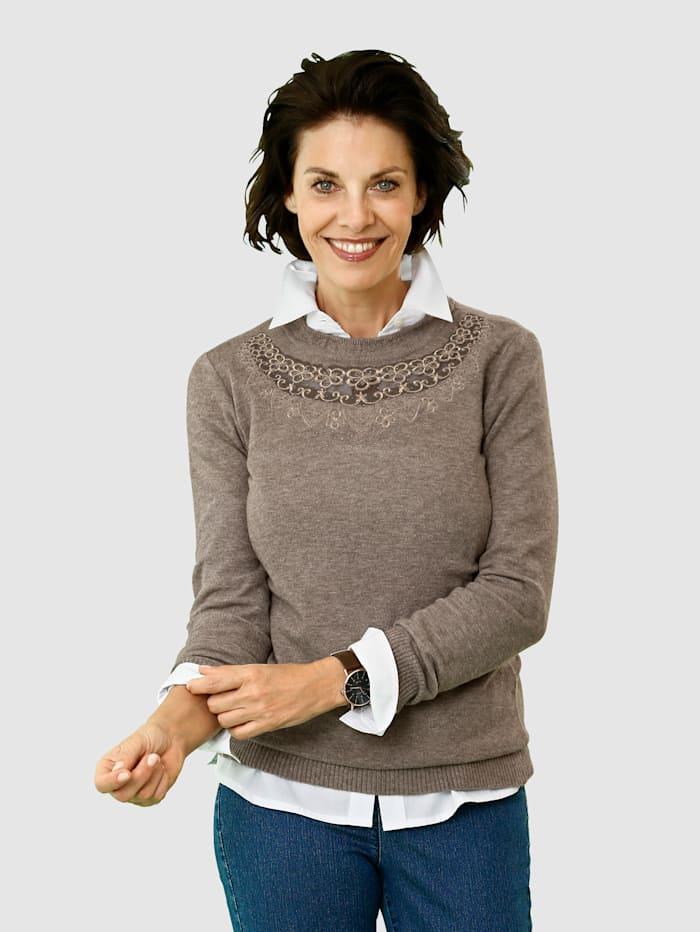 Paola Tröja med elegant, stickat mönster, Mullvad