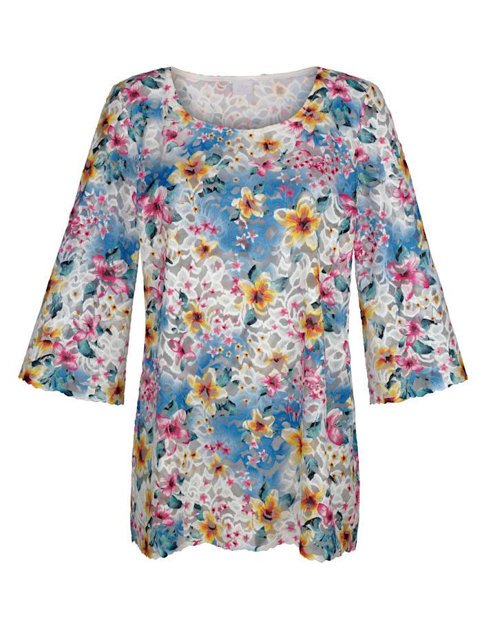 Alba Moda Strandshirt aus Spitze, Weiss-Bunt