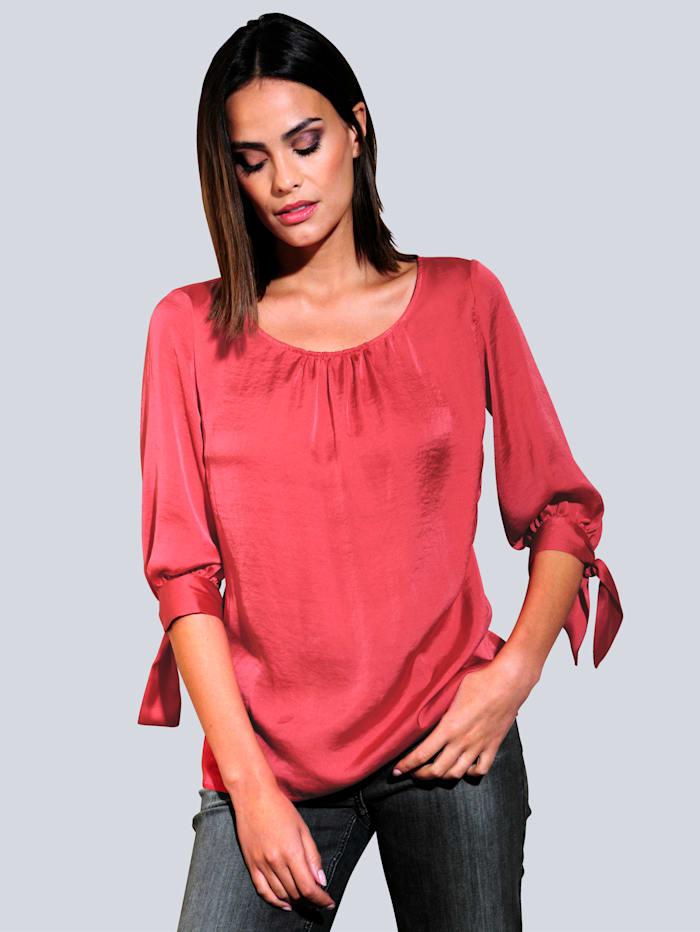 Alba Moda Bluse aus leicht glänzendem Material, Koralle