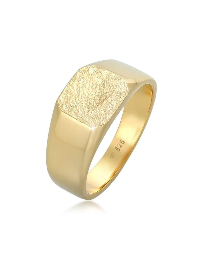 Kuzzoi Ring Basic Siegelring Herren Quadrat Matt 925 Silber, Gold