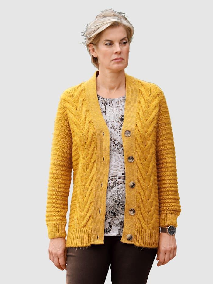 Paola Strickjacke mit schönem Strickmuster, Gelb