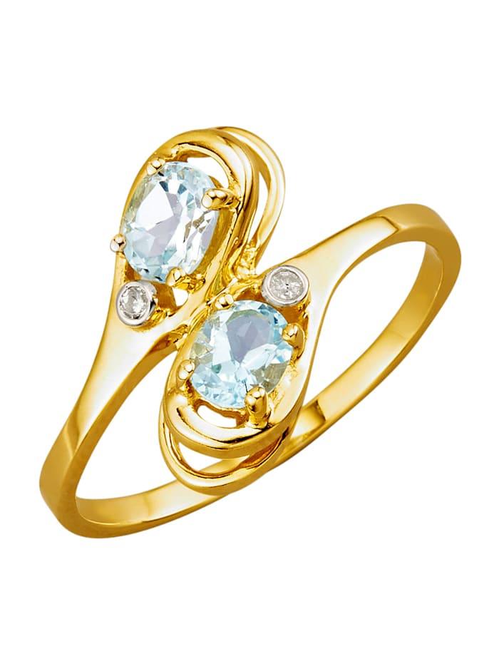 Ring med akvamariner och diamanter, Blå
