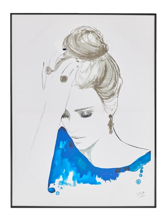 IMPRESSIONEN living Bild Woman, weiß/blau/silber