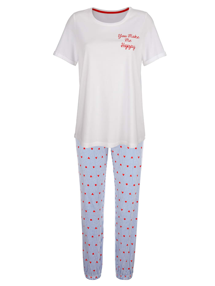 Simone Schlafanzug mit modischen Ärmelaufschlägen, Weiß/Blau/Rot