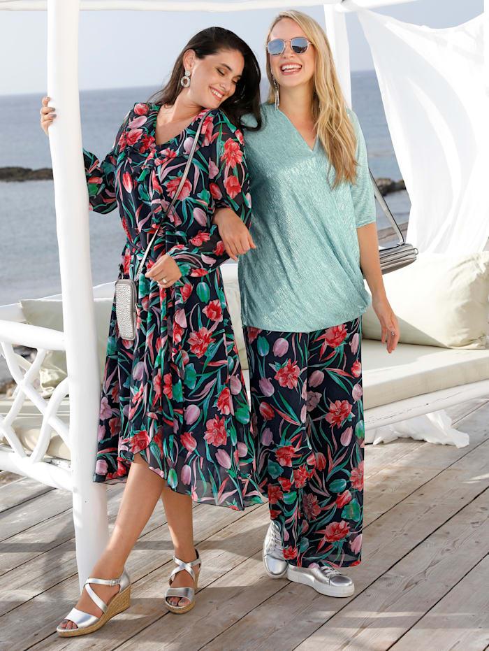 MIAMODA Kleid mit streckendem V-Ausschnitt, Multicolor
