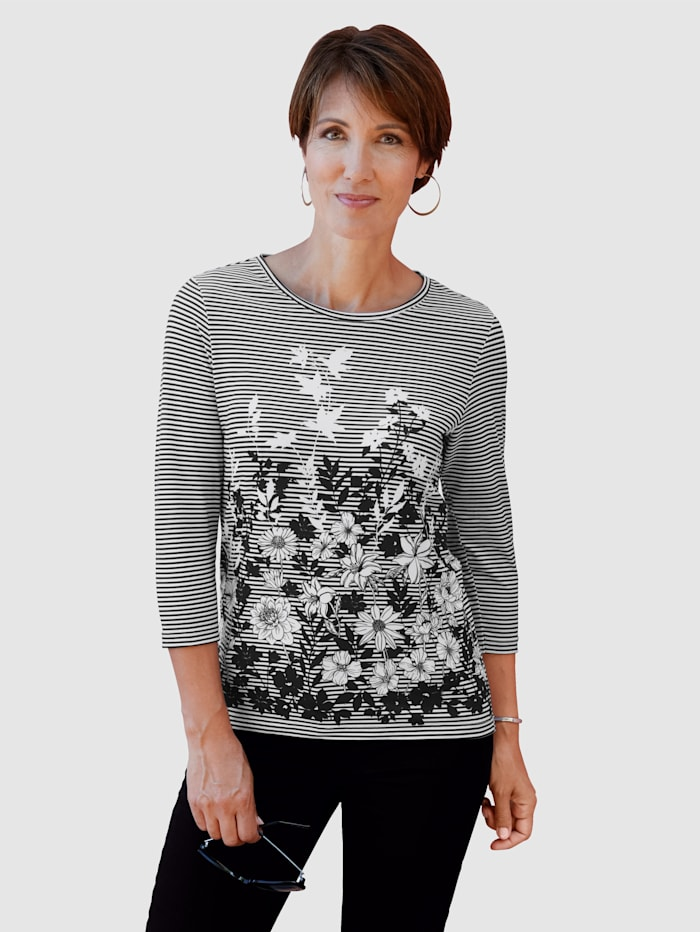 Paola Shirt mit plazeirtem Druck, Grau