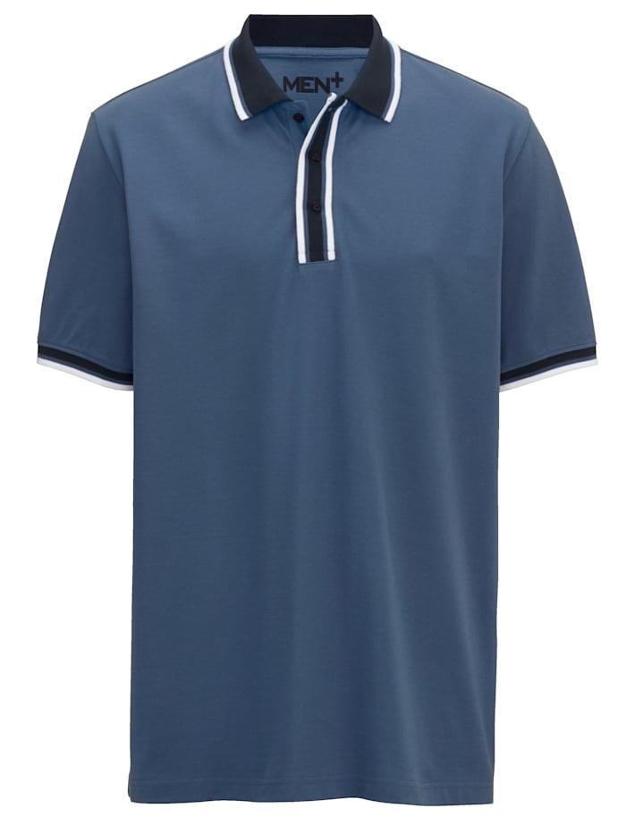 Men Plus Polo à rayures en tissé-teint, Bleu