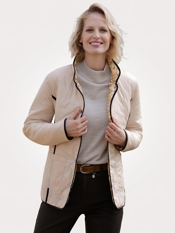 MONA Keerbare jas met kettingprint, Zand/Geel