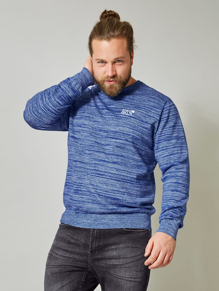 Men Plus Pullover aus reiner Baumwolle, Blau