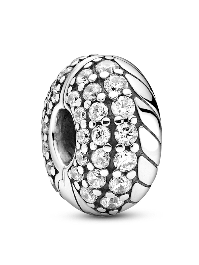 Pandora Clip-Charm - Pavé-Clip mit Schlangengliedermuster - 799089C01, Silberfarben