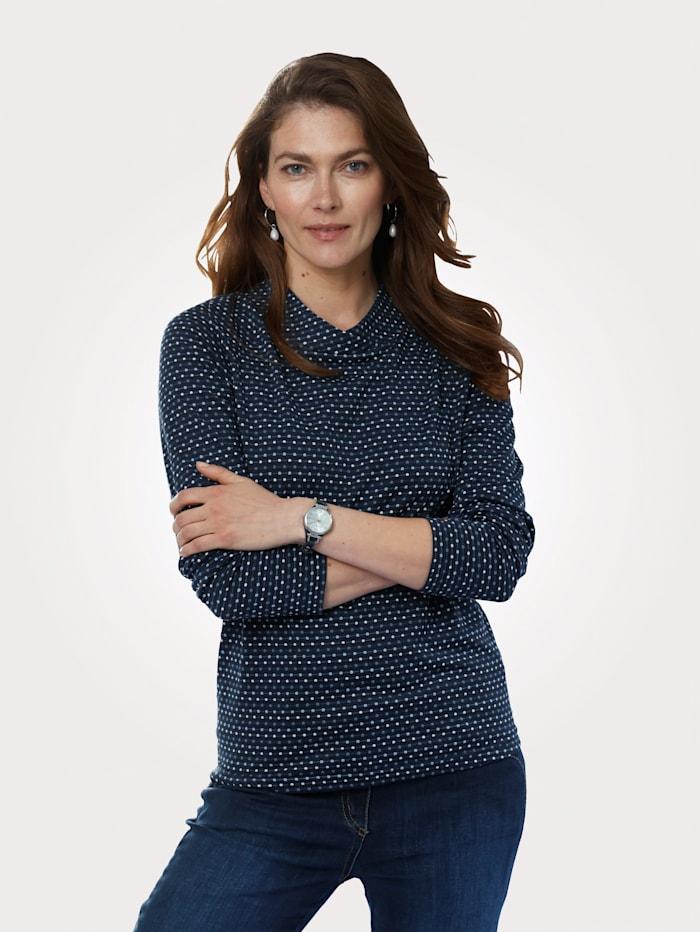 MONA Shirt im Minimal-Krawatten-Dessin, Marineblau/Blau/Weiß