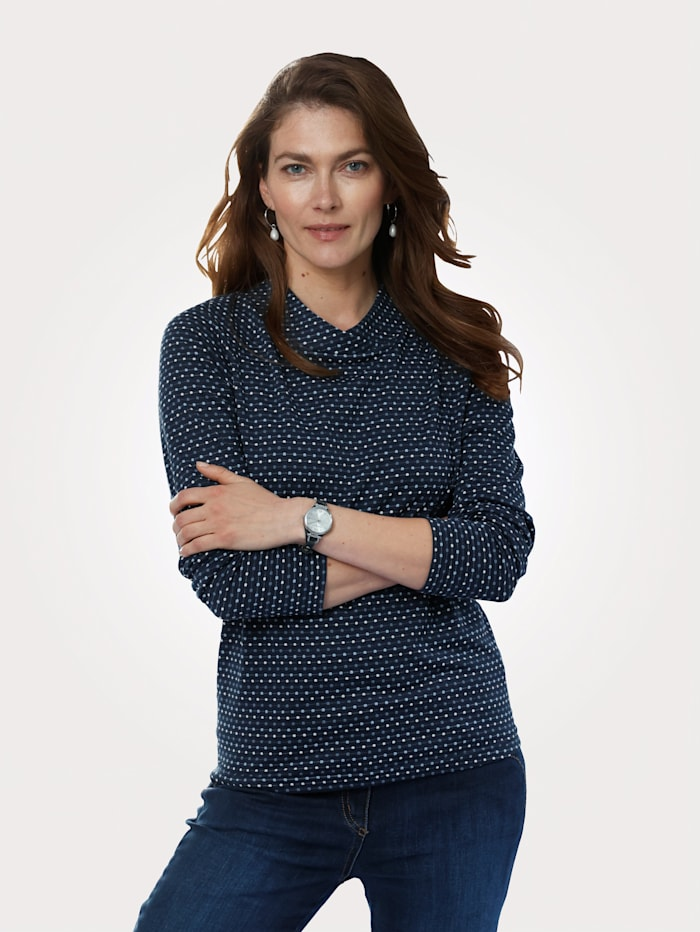 MONA T-shirt à motif cravate minimaliste, Marine/Bleu/Blanc