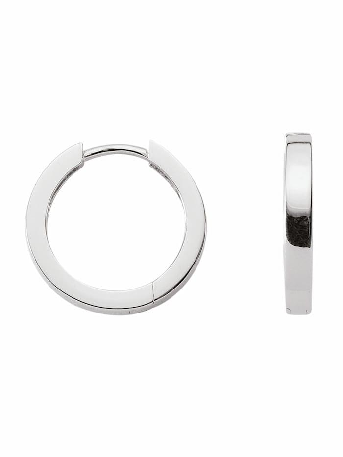 1001 Diamonds Damen Silberschmuck 925 Silber Ohrringe / Creolen Ø 18,2 mm, silber