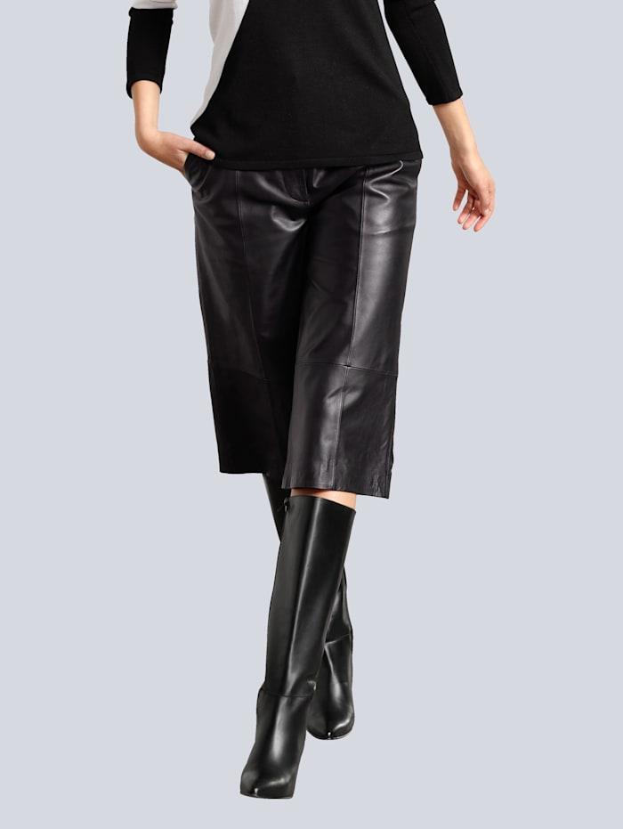 Alba Moda Leder-Culotte aus softem Lammnappa, Schwarz