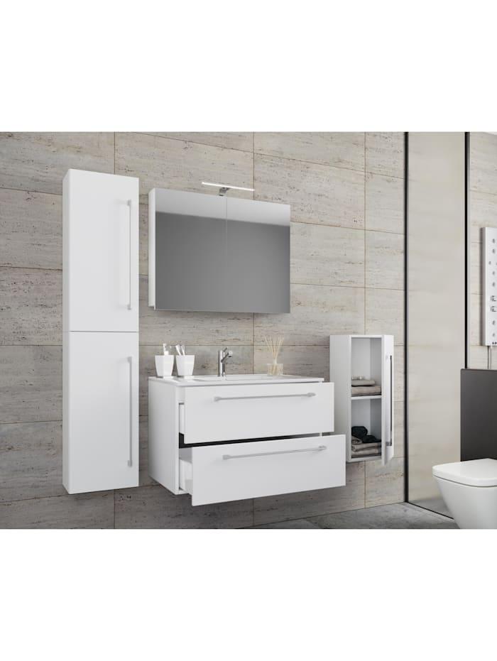 VCM 3.-tlg. Waschplatz Waschtisch Badinos mit Schublade, 80 cm: Weiß + Spiegelschrank