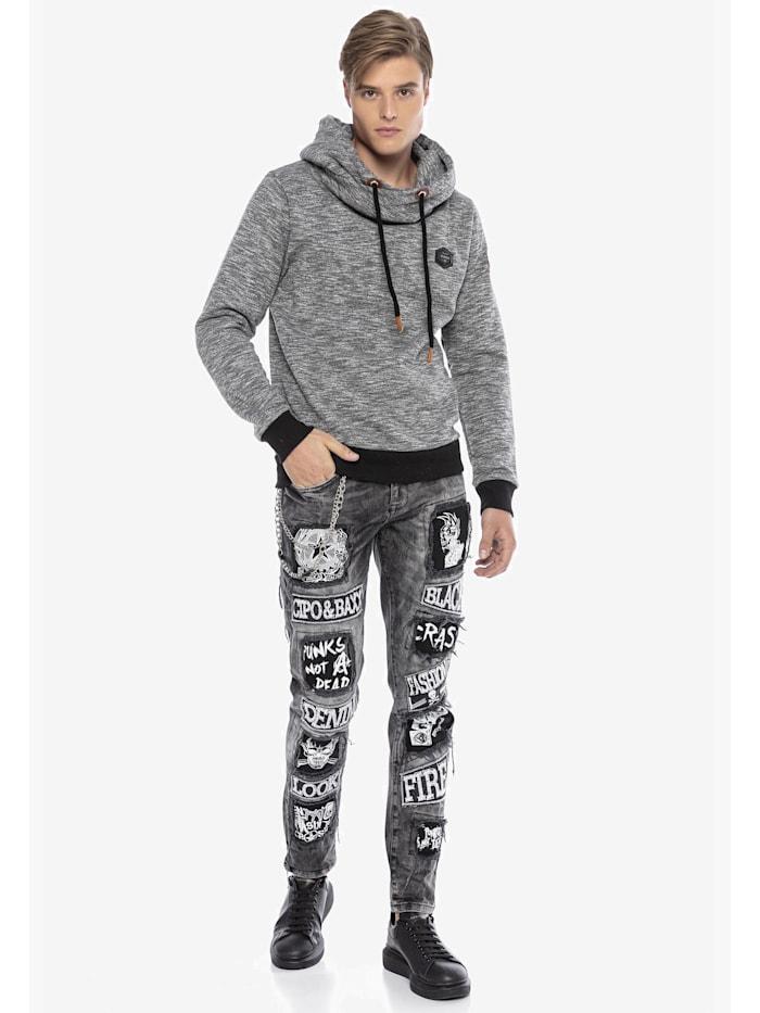 Cipo & Baxx Kapuzen Sweatshirt mit modischem Schalkragen, GREYMELANGE