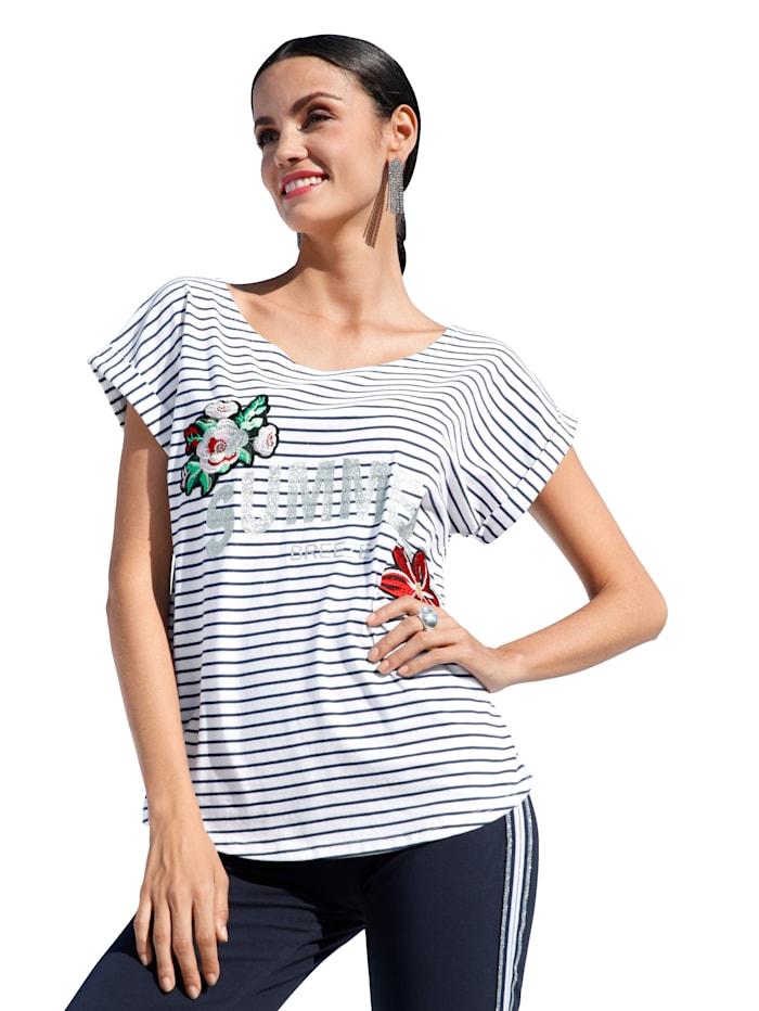 AMY VERMONT Shirt im Streifendessin, Weiß/Marineblau