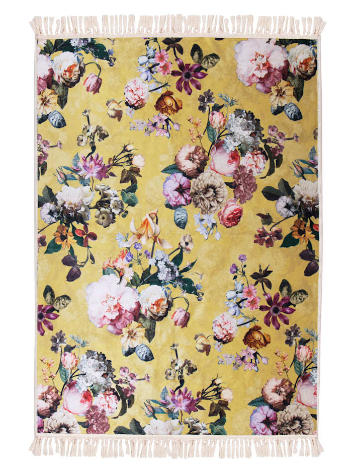 Essenza Webteppich, 'Fleur', Gelb