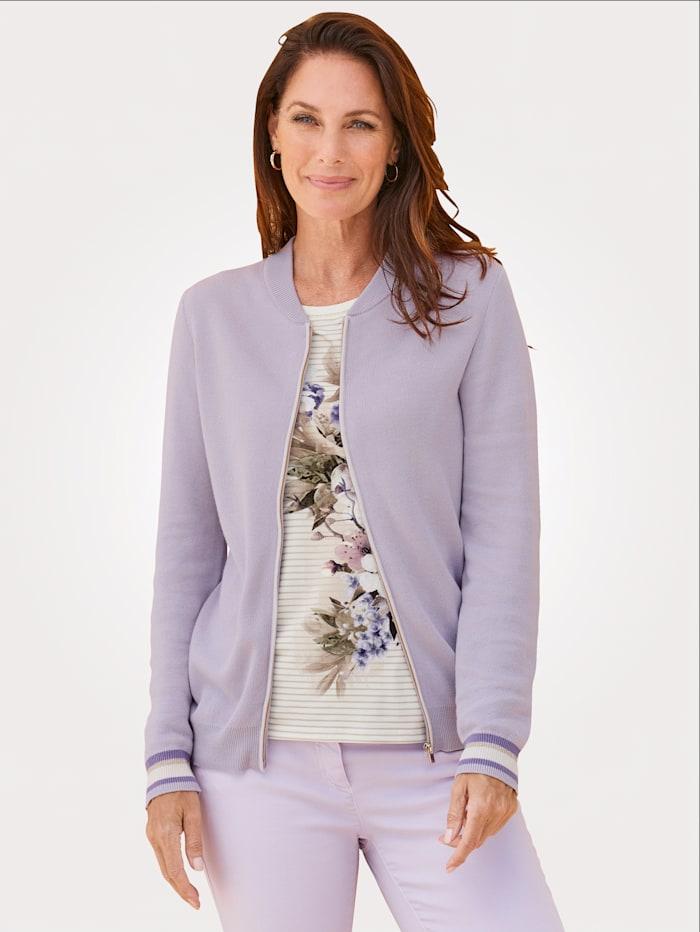 MONA Strickjacke mit modischem Collegekragen, Lavendel