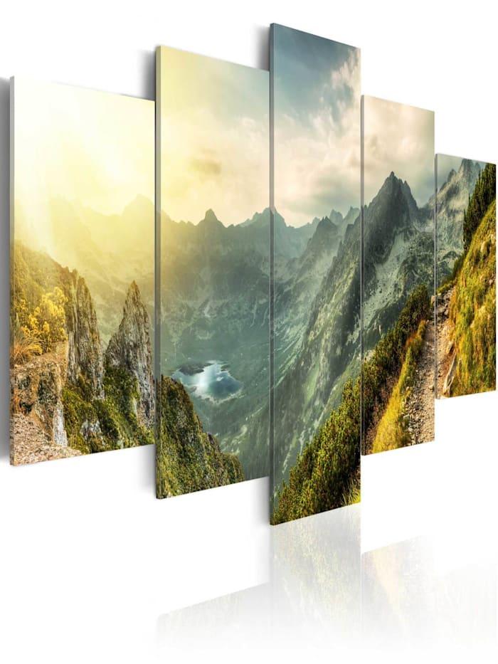 artgeist Wandbild Slovak mountain landscape, Braun,Grün,Orange,Gelb