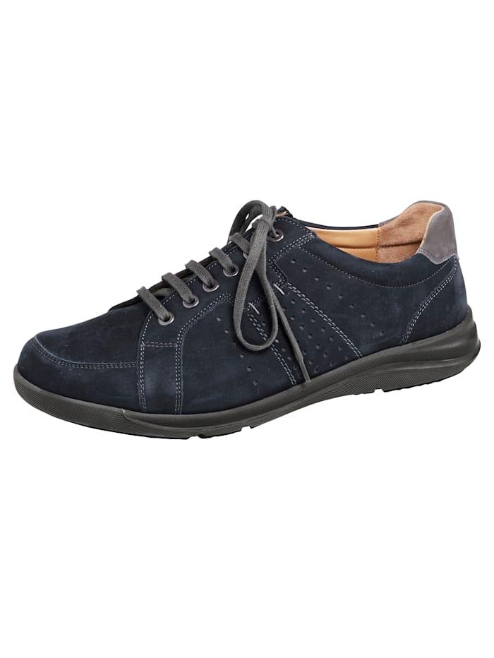 Ströber Schnürschuh mit zusätzlichem Reißverschluss, Marineblau/Grau