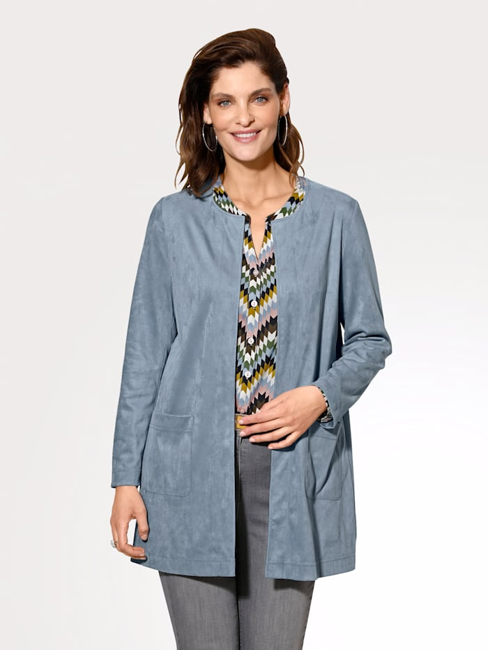 MONA Faux suede jacket in a classic cut, Light Blue