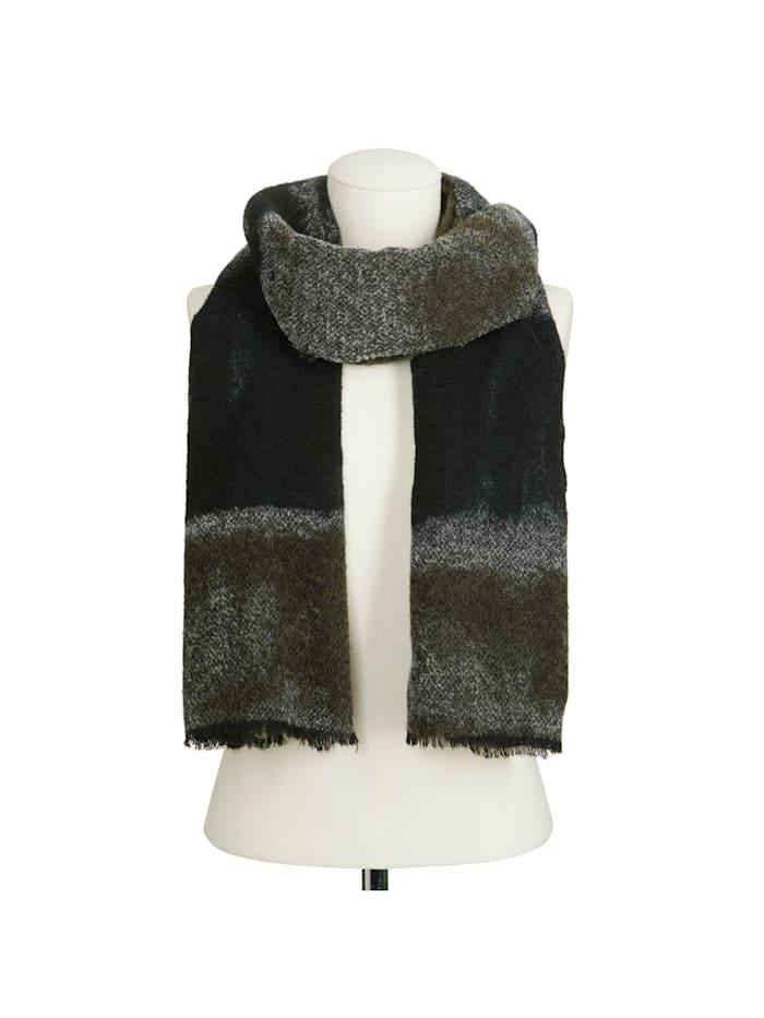 Premium Bouclé-Schal mit handgemalten Streifen – Made in Italy