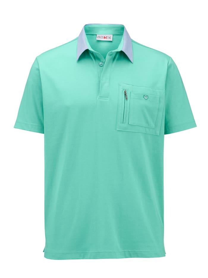 Roger Kent Poloshirt met kraag van chambray, Mint