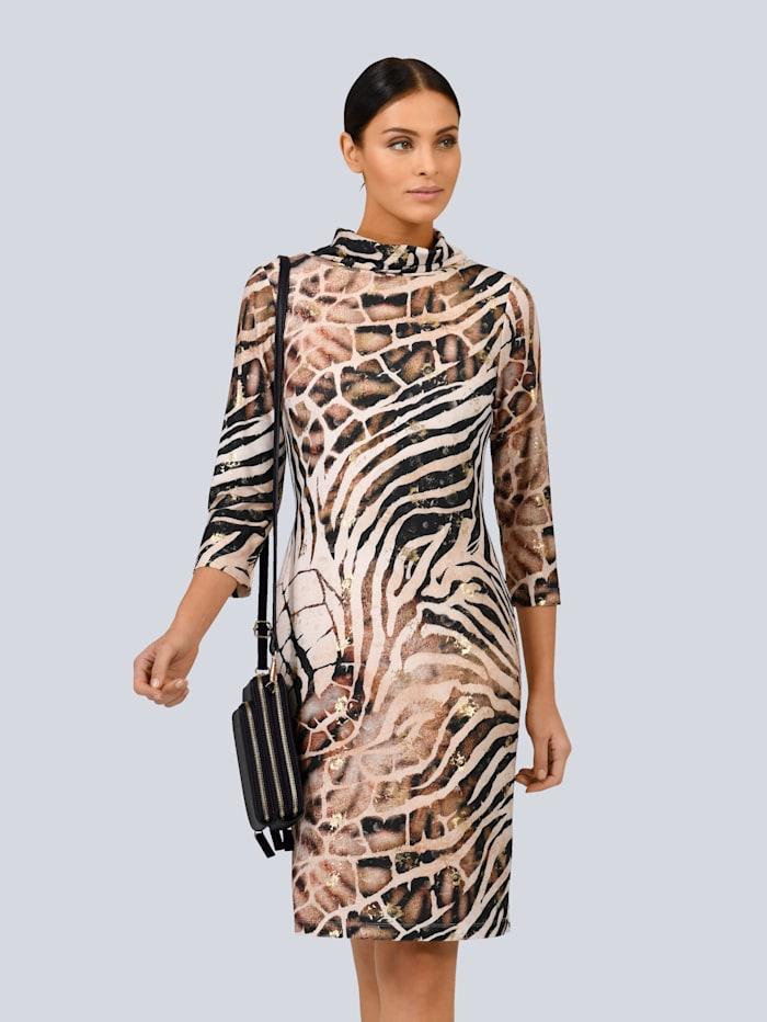Alba Moda Kleid mit tollem Foliendruck, Beige/Braun