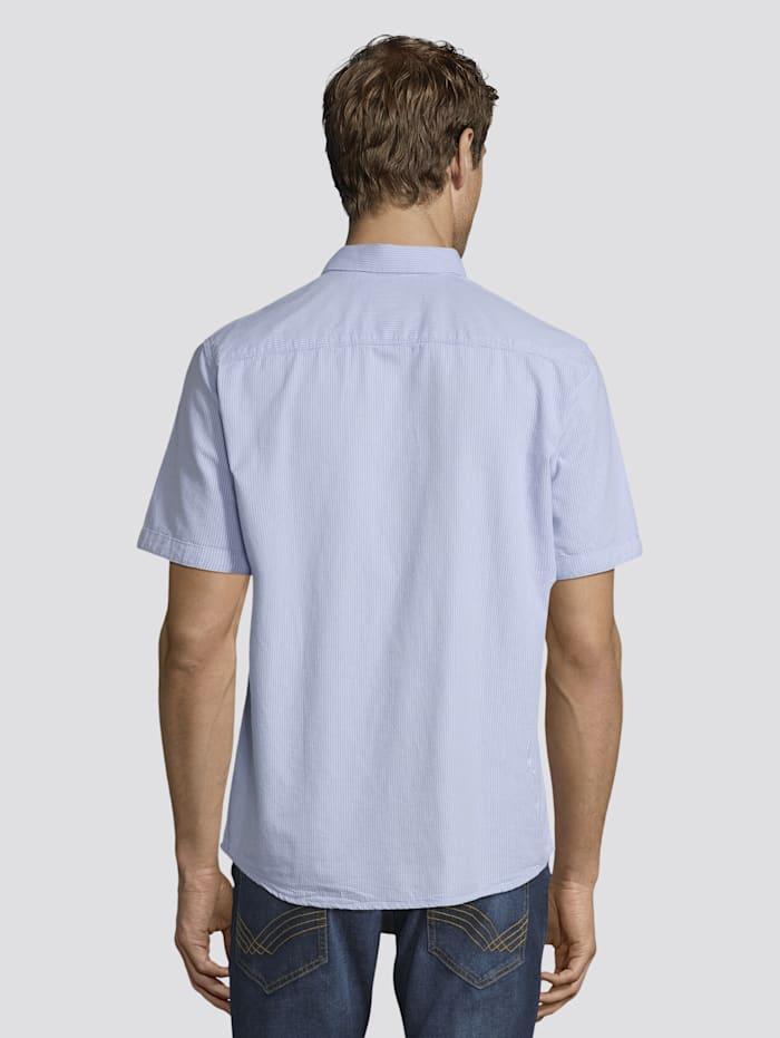 Tom Tailor Gestreiftes Kurzarm-Hemd mit Brusttasche, light blue with white stripes
