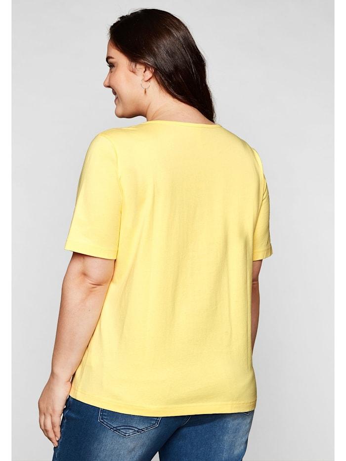 Sheego T-Shirt mit Brusttasche und Lochstickerei-Detail