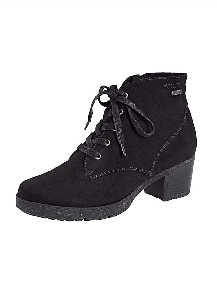 Jana Lace-up Boots with block heel, Black