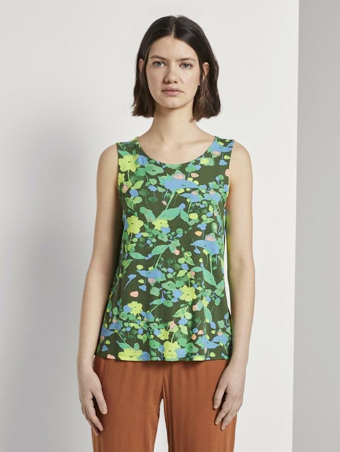 Tom Tailor Denim Gemustertes Top aus Jersey, green flower print